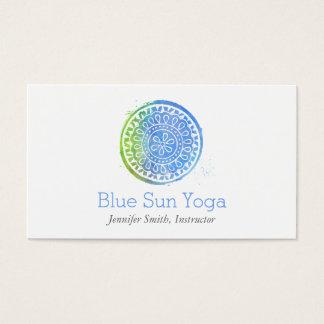 水彩画の曼荼羅の緑か青のヨガおよび健康 名刺