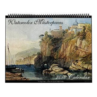水彩画の最高傑作の大きい2016年の芸術の壁掛けカレンダー カレンダー