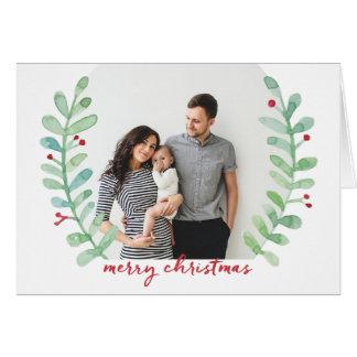 水彩画の月桂樹のリースのメリークリスマスの写真 カード