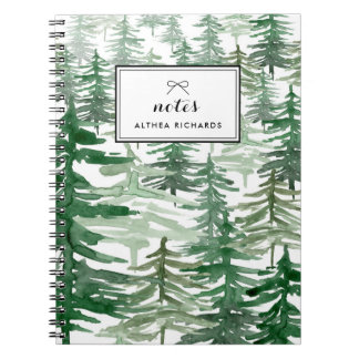 水彩画の木パターン名前入りなノートI ノートブック