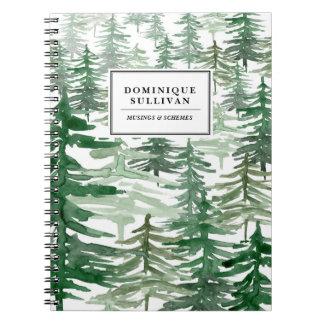 水彩画の木パターン名前入りなノートII ノートブック