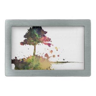 水彩画の木 長方形ベルトバックル