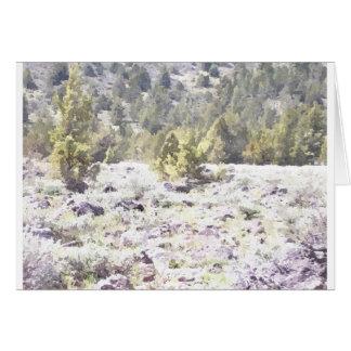 水彩画の杜松そして溶岩の石 カード