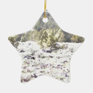 水彩画の杜松そして溶岩の石 セラミックオーナメント