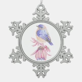 水彩画の東のブルーバードの青い庭の鳥 スノーフレークピューターオーナメント