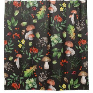 水彩画の森林は花|葉の急速に広まります シャワーカーテン