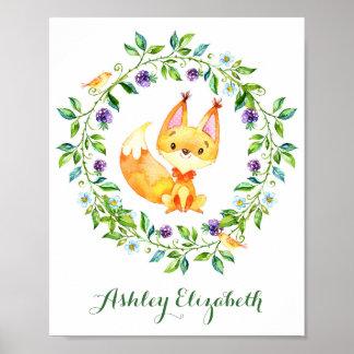 水彩画の森林キツネの子供部屋 ポスター