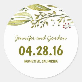 水彩画の森林花の結婚式 ラウンドシール