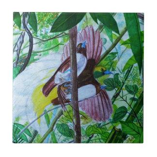 水彩画の楽園の鳥 タイル