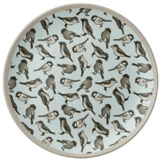 水彩画の歌の鳥パターン水及び賢人 磁器プレート