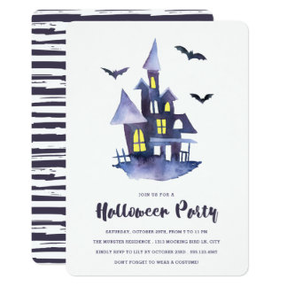 水彩画の気味悪い家のハローウィンパーティの招待状 カード