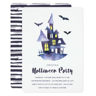 水彩画の気味悪い家のハローウィンパーティの招待状 12.7 X 17.8 インビテーションカード