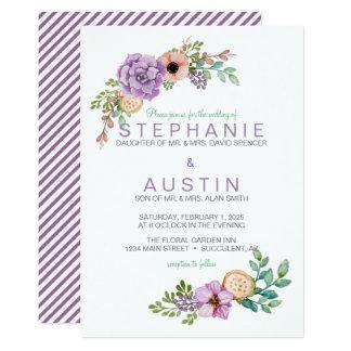 水彩画の水気が多い植物の結婚式招待状 カード