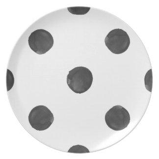 水彩画の水玉模様のプレート プレート