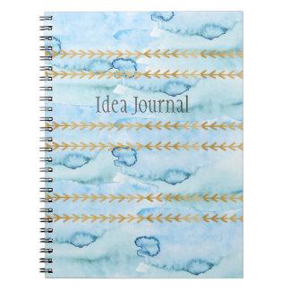 水彩画の氷河青のアイディアジャーナル ノートブック
