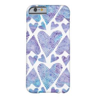 水彩画の泡ハートのティール(緑がかった色)の紫色のラベンダー BARELY THERE iPhone 6 ケース