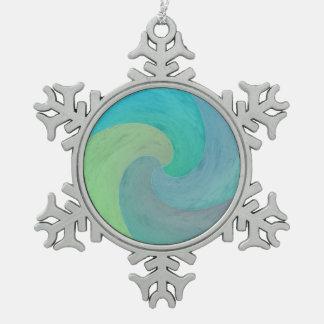 水彩画の波の緑のターコイズのアクアマリンの芸術 スノーフレークピューターオーナメント