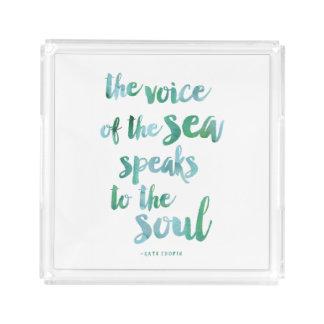 水彩画の海の引用文のアクリルの皿 アクリルトレー