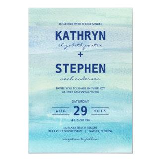水彩画の海の結婚式招待状 カード