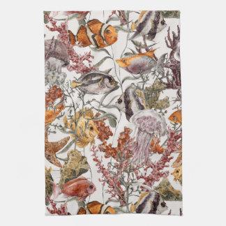 水彩画の海洋生物パターン2 キッチンタオル