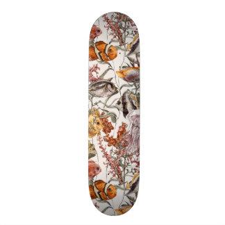 水彩画の海洋生物パターン2 スケートボード