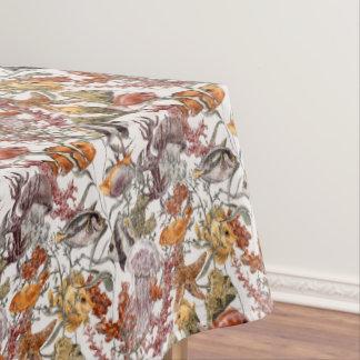 水彩画の海洋生物パターン2 テーブルクロス