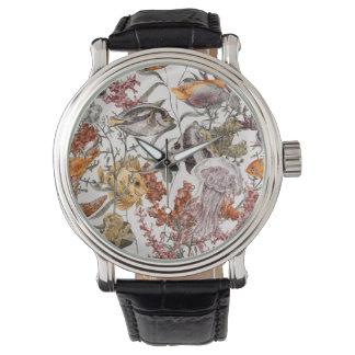水彩画の海洋生物パターン2 腕時計