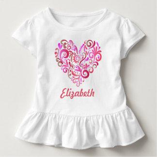 水彩画の渦巻のハートのピンクのひだのTシャツ トドラーTシャツ