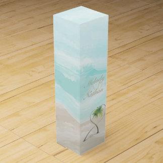 水彩画の熱帯ビーチ結婚式のワイン箱 ワインギフトボックス