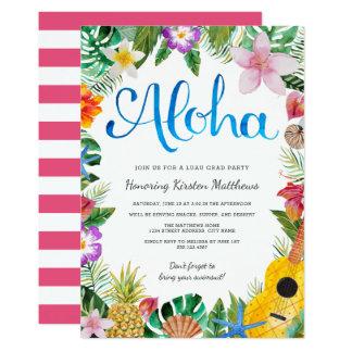 水彩画の熱帯ルアウ(ハワイ式宴会)の卒業パーティーの招待 カード