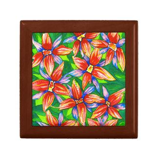 水彩画の熱帯花のギフト用の箱 ギフトボックス