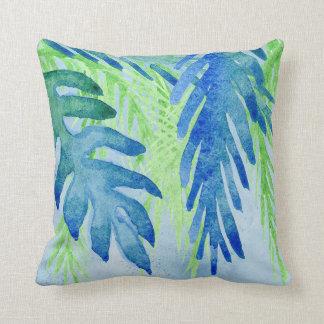 水彩画の熱帯葉のビーチのオーシャンブルーの緑 クッション
