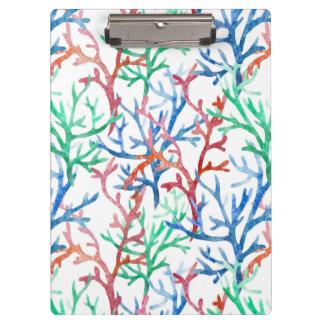 水彩画の珊瑚パターン クリップボード