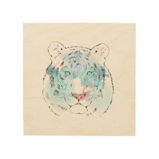 水彩画の白いトラ木キャンバス ウッドウォールアート