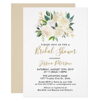 水彩画の白い花のBridalShowerの招待状 カード