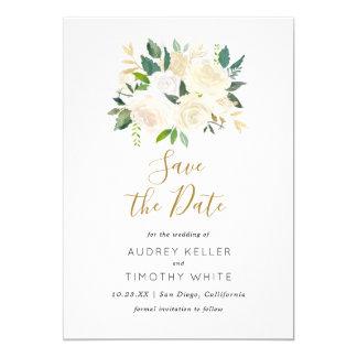 水彩画の白い花は日付カードを救います カード