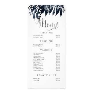 水彩画の白黒のスタイリストメニュー値段表 カスタマイズラックカード