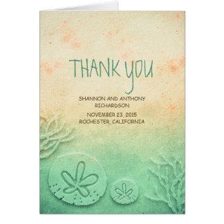 水彩画の砂ドルのビーチ結婚式は感謝していしています カード