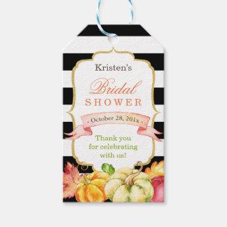 水彩画の秋の秋のブライダルシャワーは感謝していしています ギフトタグ