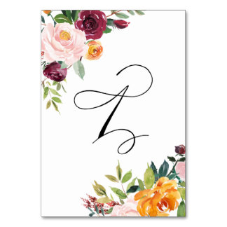 水彩画の秋の開花の花のテーブル第1
