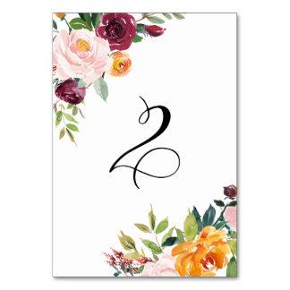 水彩画の秋の開花の花のテーブル第2