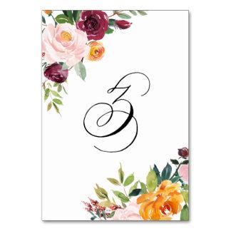 水彩画の秋の開花の花のテーブル第3