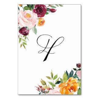 水彩画の秋の開花の花のテーブル第4