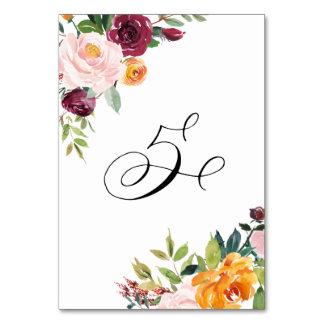 水彩画の秋の開花の花のテーブル第5