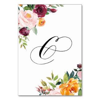 水彩画の秋の開花の花のテーブル第6