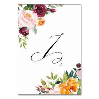 水彩画の秋の開花の花のテーブル第7