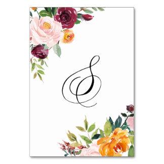 水彩画の秋の開花の花のテーブル第8