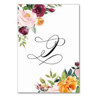水彩画の秋の開花の花のテーブル第9