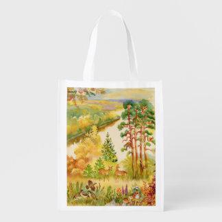 水彩画の秋場面再使用可能な買い物袋 エコバッグ