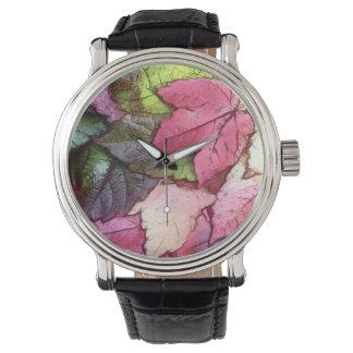 水彩画の紅葉 腕時計
